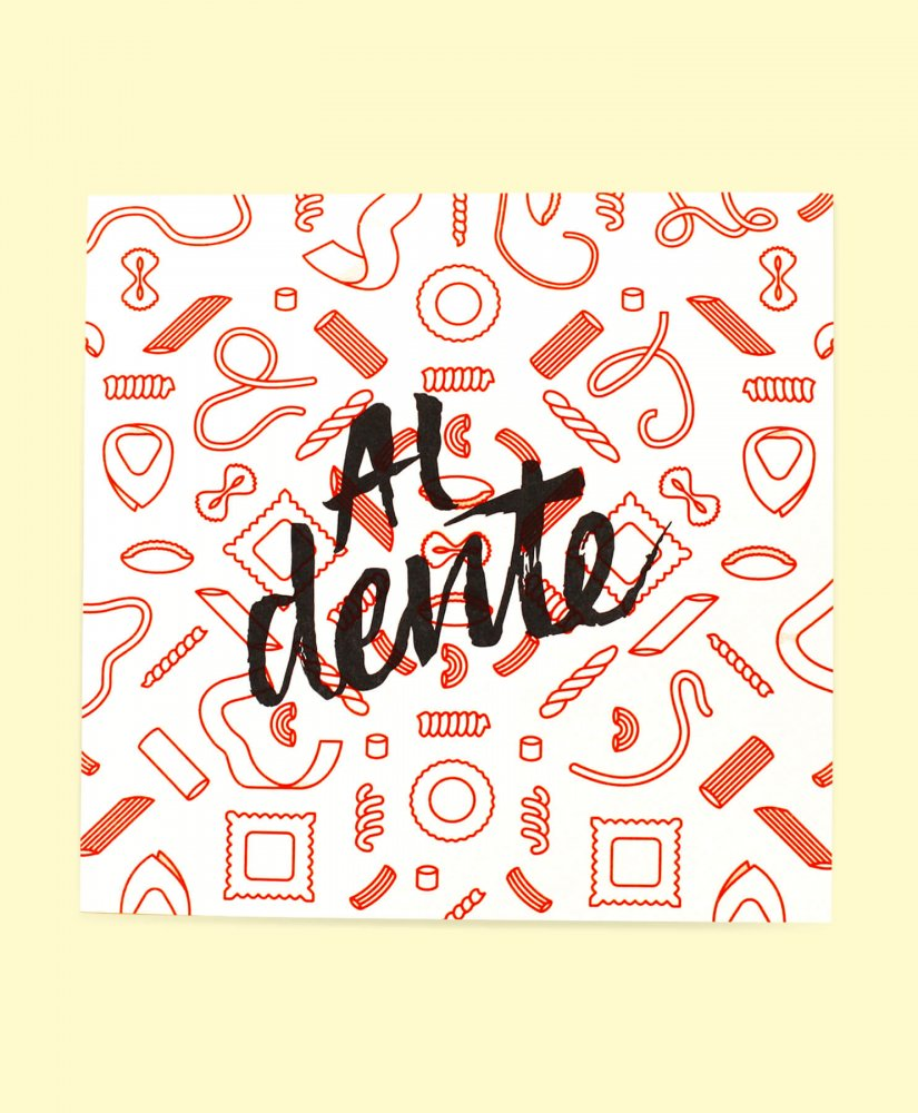 Al dente risograph, black text orange pasta
