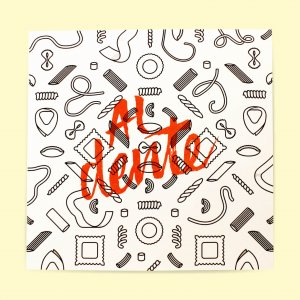 Al dente risograph, orange text on black pasta