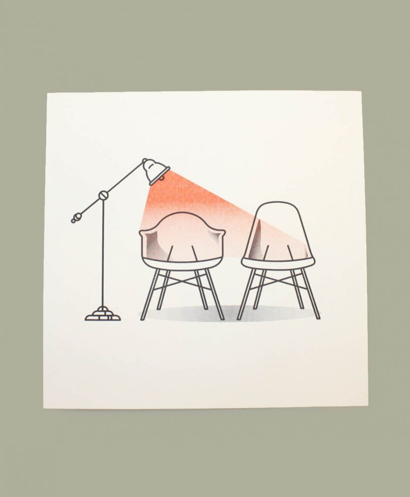 Chairs and lamp risograph