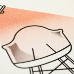 Chairs and lamp risograph detail